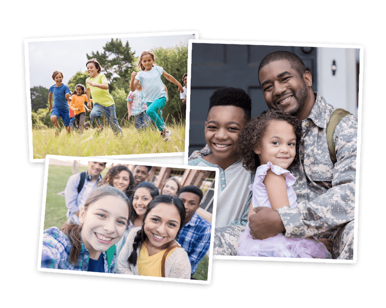 Collage of photos including small kids playing, teens posing, and military dad with kids.